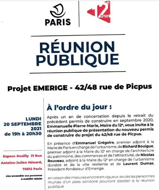 Projet EMERIGE Réunion de restitution lundi 20 septembre 19h Espace Reuilly